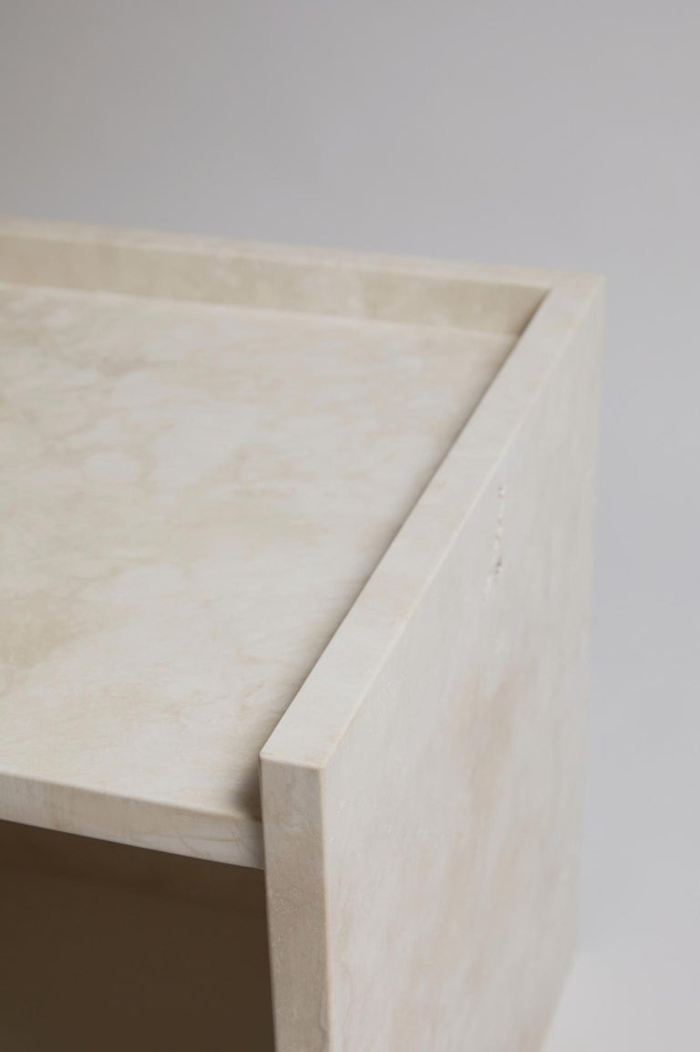 Pure Minimalist Travertine Bedside Table Set by Amee Allsop, AA112 For Sale 3