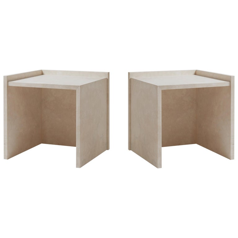 Pure Minimalist Travertine Bedside Table Set by Amee Allsop, AA112 For Sale