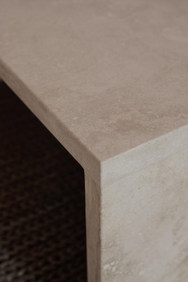 American Pure Minimalist Travertine Coffee Table by Amee Allsop, AA106.1 For Sale