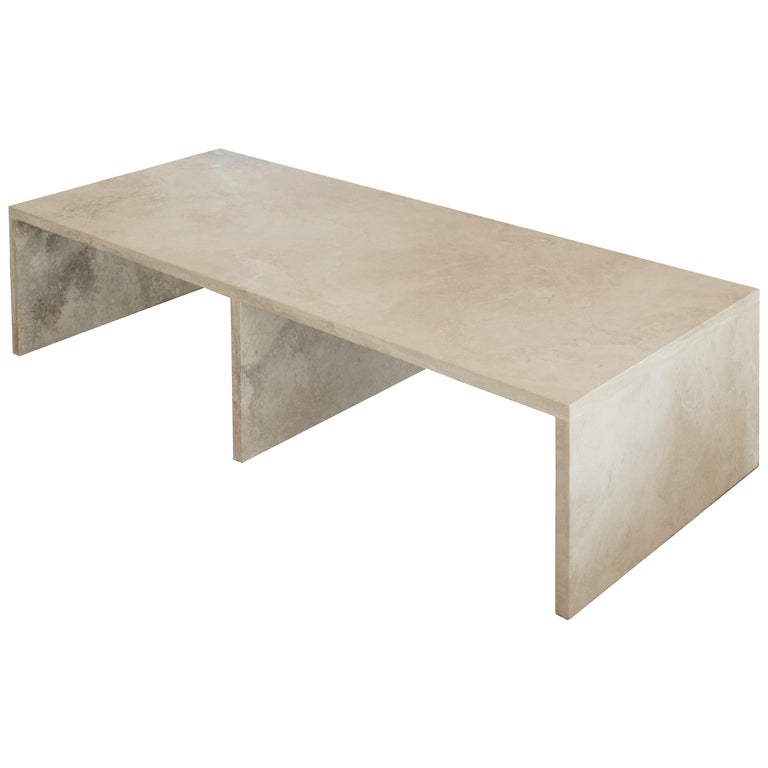 Pure Minimalist Travertine Coffee Table by Amee Allsop, AA106.1 For Sale