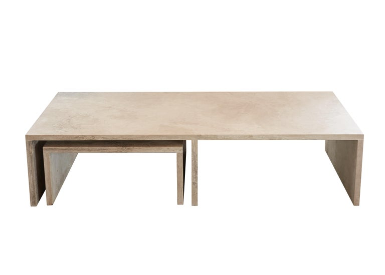 American Pure Minimalist Travertine Nesting Coffee Tables by Amee Allsop, AA106 For Sale