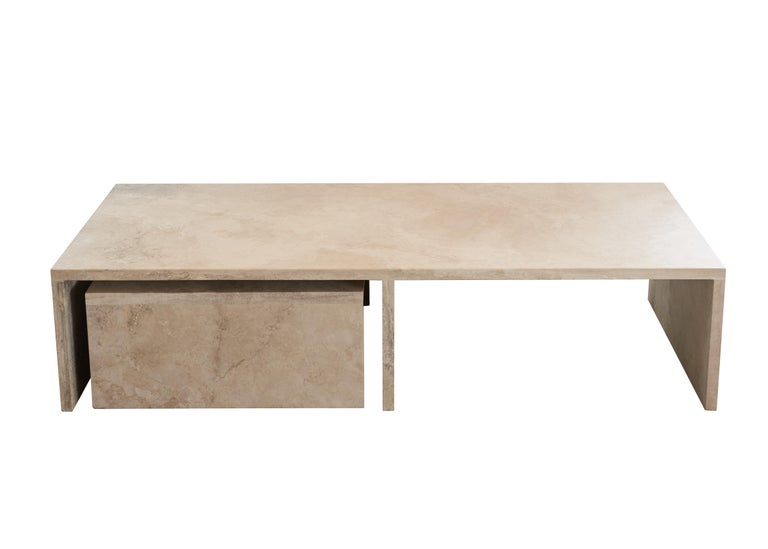 Pure Minimalist Travertine Nesting Coffee Tables by Amee Allsop, AA106 In New Condition For Sale In East Hampton, NY