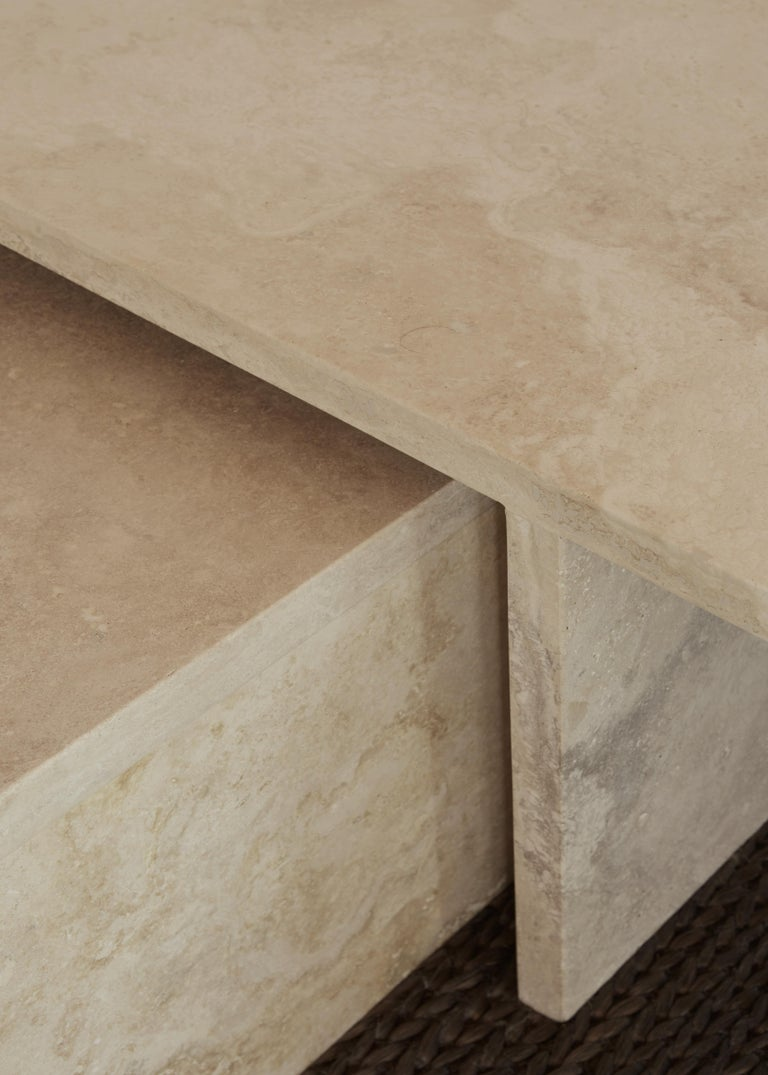 Contemporary Pure Minimalist Travertine Nesting Coffee Tables by Amee Allsop, AA106 For Sale