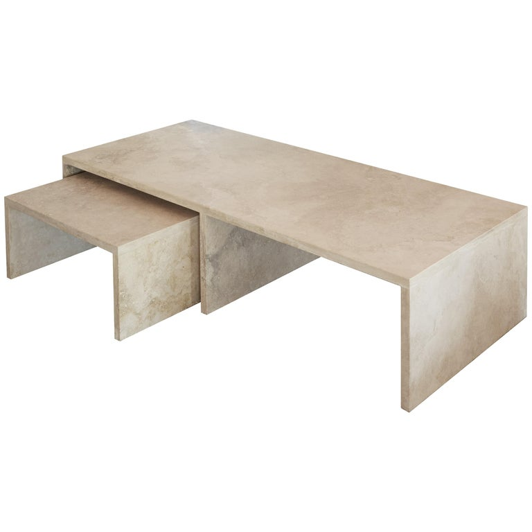 Pure Minimalist Travertine Nesting Coffee Tables by Amee Allsop, AA106 For Sale