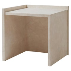 Pure Minimalist Travertine Left Side Table by Amee Allsop, AA112.1