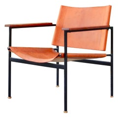 Eddie Harlis for Thonet ST 805 Modernist Cognac Saddle Leather Lounge Chair