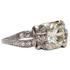 Pure Platinum 1.77 Carat Diamond Antique Ring 3.5 Grams