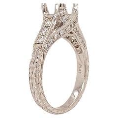 Pure Platinum and Genuine Diamond Carved Mounting 0.43 Carat 7.1g