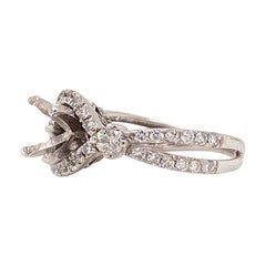Pure Platinum and Natural Diamond Split Shank Mounting 4.2g