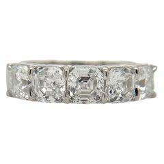Pure Platinum Kwiat 5 Diamond Band Natural Asscher Cut Diamonds 2.60Cttw All GIA