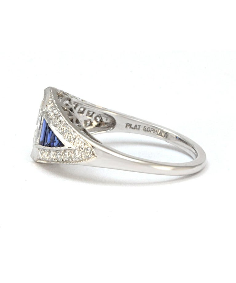 Pure Platinum Natural Marquise Diamond Ring with Genuine Sapphire In Excellent Condition In Manchester, NH