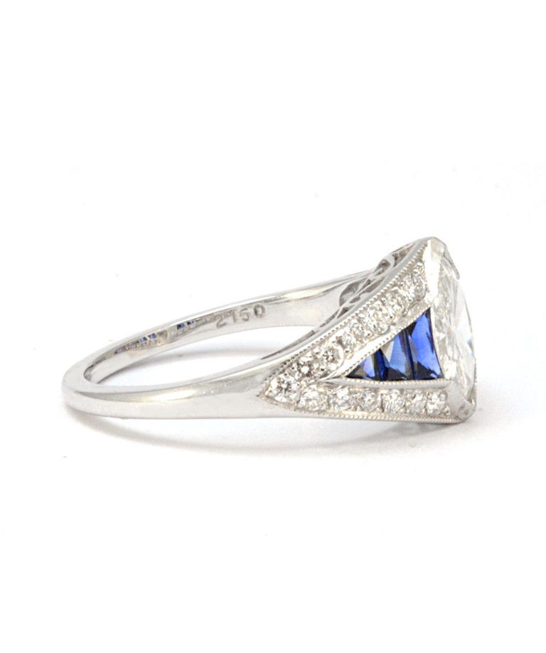 Women's Pure Platinum Natural Marquise Diamond Ring with Genuine Sapphire