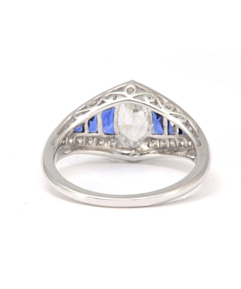 Pure Platinum Natural Marquise Diamond Ring with Genuine Sapphire 1