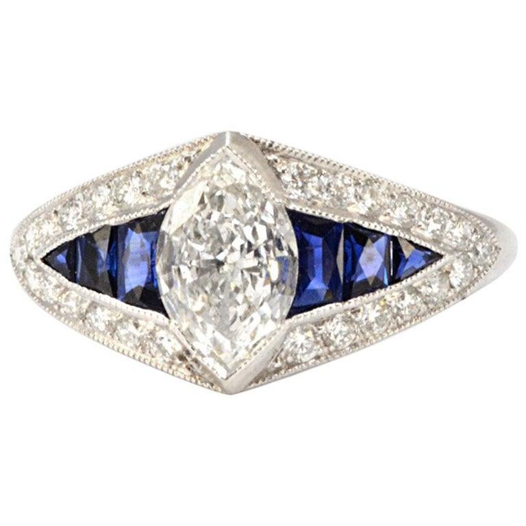 Pure Platinum Natural Marquise Diamond Ring with Genuine Sapphire