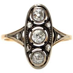 Pure Platinum and Solid 14 Karat Gold Antique Genuine Diamond Ring, 2.8 Grams