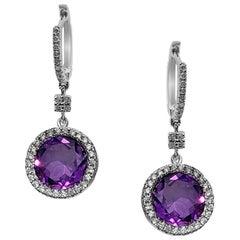 Pure Purple High Grade Amethyst Diamond White 18 Karat Gold Earrings