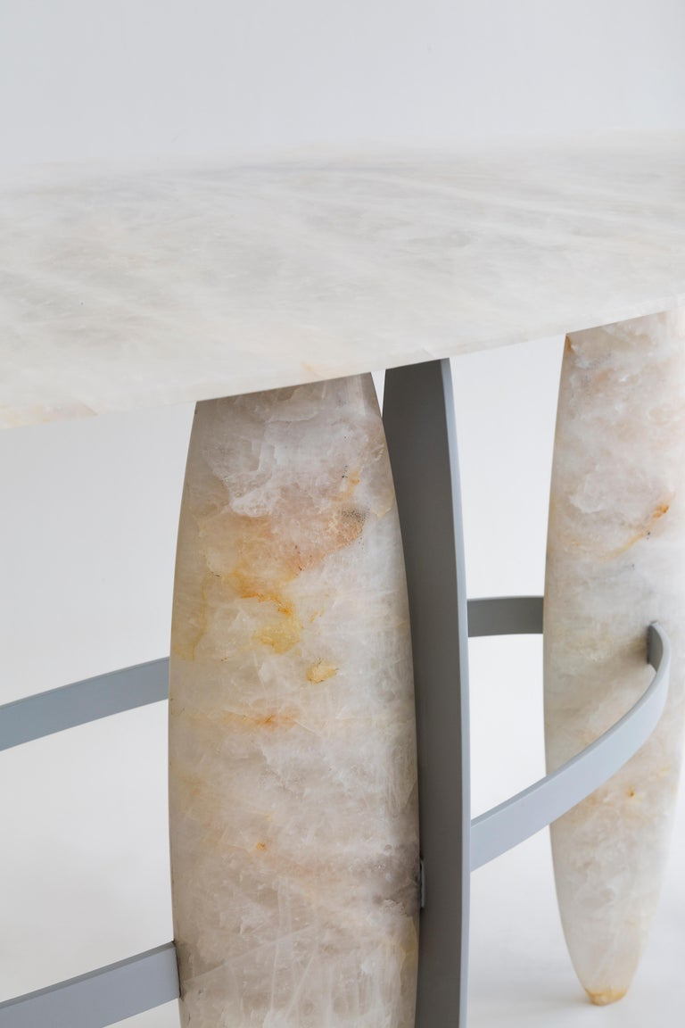 SALE 40% OFF  SPECIAL OFFER  This hand carved quartz console was created by the designer Leo Di Caprio after a research on the hidden Brazilian underground diversity: the stones.  It is made of the Brazilian pure quartz, a stone with an incredible