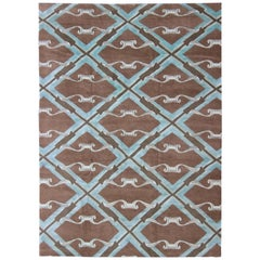 Pure Silk and Wool Nepalese Modern Design Rug in Brown, Blue and Diamond Design