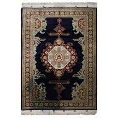 Pure Silk Area Rug, Oriental Rugs Navy Carpet Rug, UK