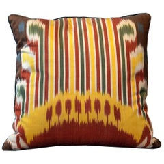 Pure Silk Pillow Cover, Handmade Carpet Decorative Pillow, Yellow Cushion Cover