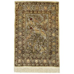 Pure Silk Rugs, Metallic Pictorial Turkish Rugs, Hereke Handmade Carpet