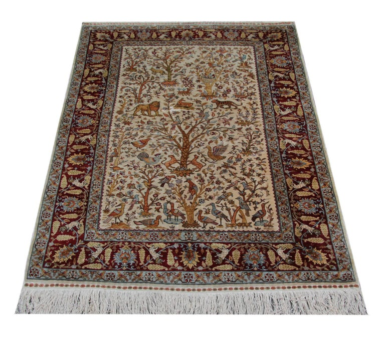 The manufacturing of these masterpieces luxury rugs began late the 19th century. This carpet was woven in Asian Anatolia, Turkey in the historic city of Hereke. The manufacturing of these masterpieces luxury rugs began early the 20th century.