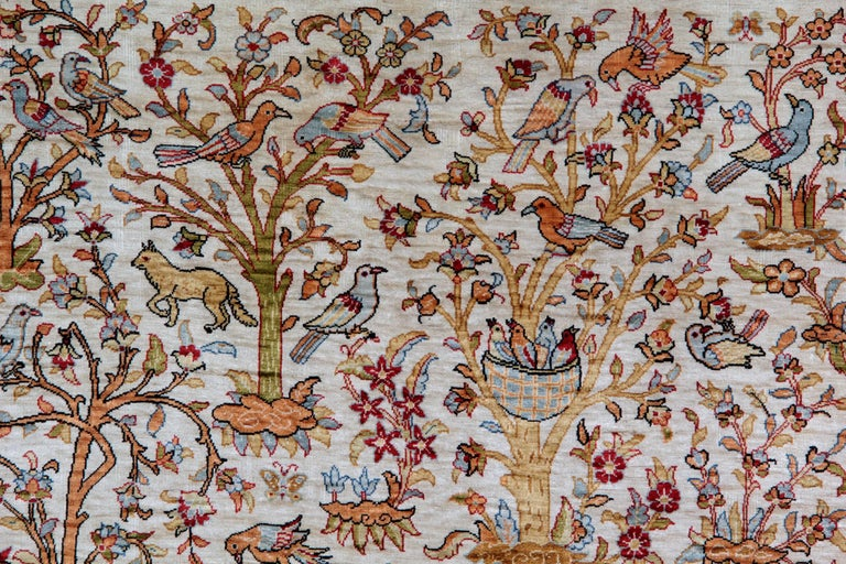 Vegetable Dyed Pure Silk Rugs, Pictorial Turkish Rugs, Hereke Carpet with Signature For Sale