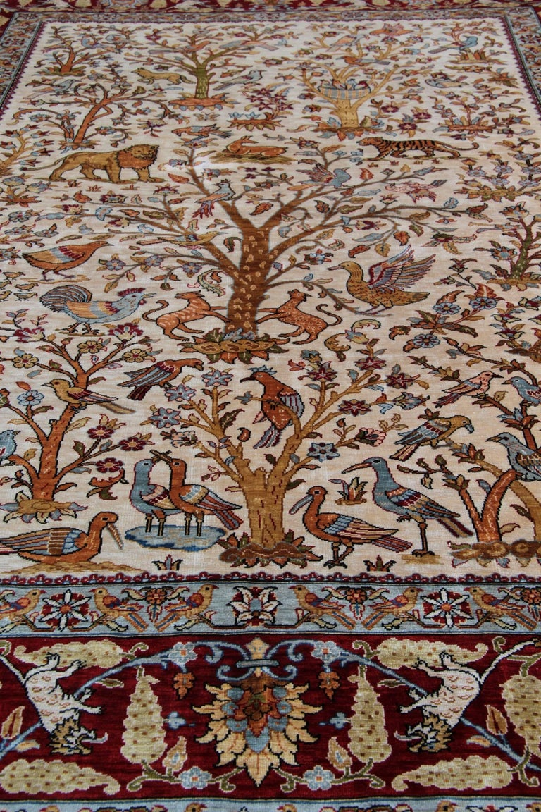 Pure Silk Rugs, Pictorial Turkish Rugs, Hereke Carpet with Signature For Sale 1