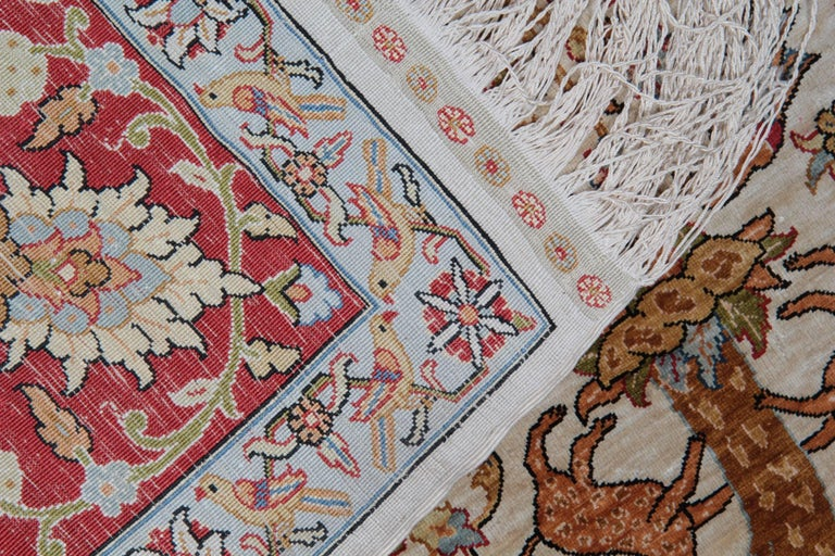 Pure Silk Rugs, Pictorial Turkish Rugs, Hereke Carpet with Signature For Sale 2