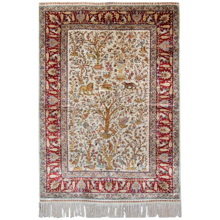 Pure Silk Rugs, Pictorial Turkish Rugs, Hereke Carpet with Signature For Sale