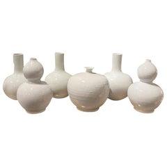 Pure White Ceramic Vase Assortment, China, Contemporary