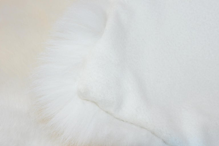 Plaid pure white fox fur from Scandinavia with hand-sewn cashemire back. Exceptional piece and high quality handmade.