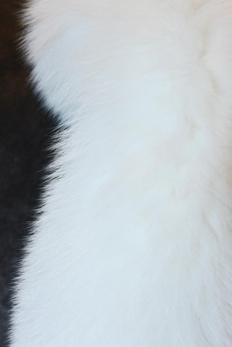 Hand-Crafted Pure White Scandinavian Fox Fur Plaid with Cashemire For Sale