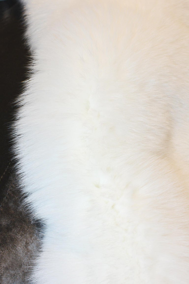 Pure White Scandinavian Fox Fur Plaid with Cashemire In New Condition For Sale In Paris, FR