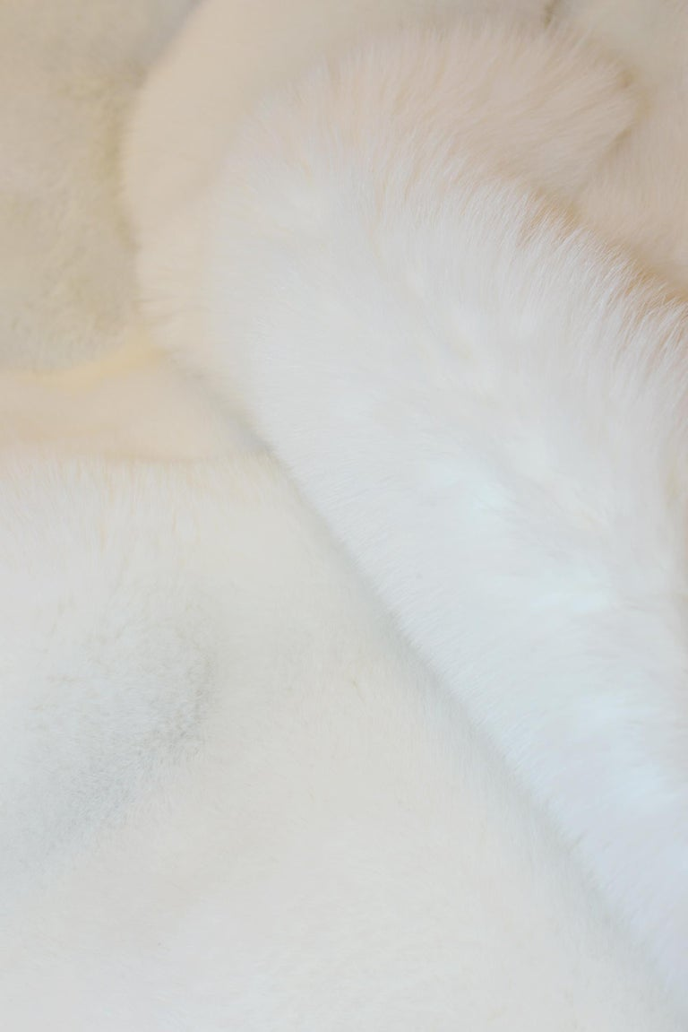 Contemporary Pure White Scandinavian Fox Fur Plaid with Cashemire For Sale