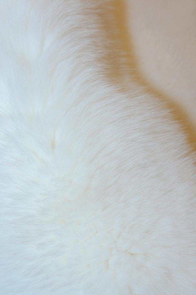 Animal Skin Pure White Scandinavian Fox Fur Plaid with Cashemire For Sale