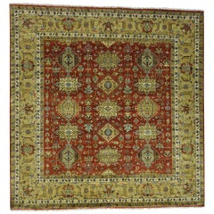 Pure Wool Hand Knotted Karajeh Square Oriental Rug