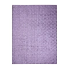 Pure Wool Hand-Loomed Tone on Tone Ultra Violet Oriental Rug