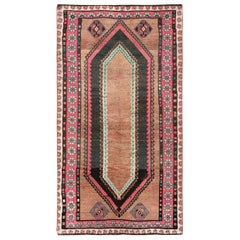 Pure Wool Honey Brown Persian Qashqai Hand Knotted Vintage Worn Down Clean Rug