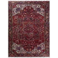 Pure Wool Red Persian Heriz Vintage Worn Down Hand Knotted Rug
