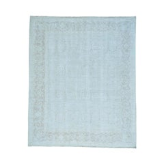 Pure Wool Silver Wash Oushak Hand Knotted Oriental Rug
