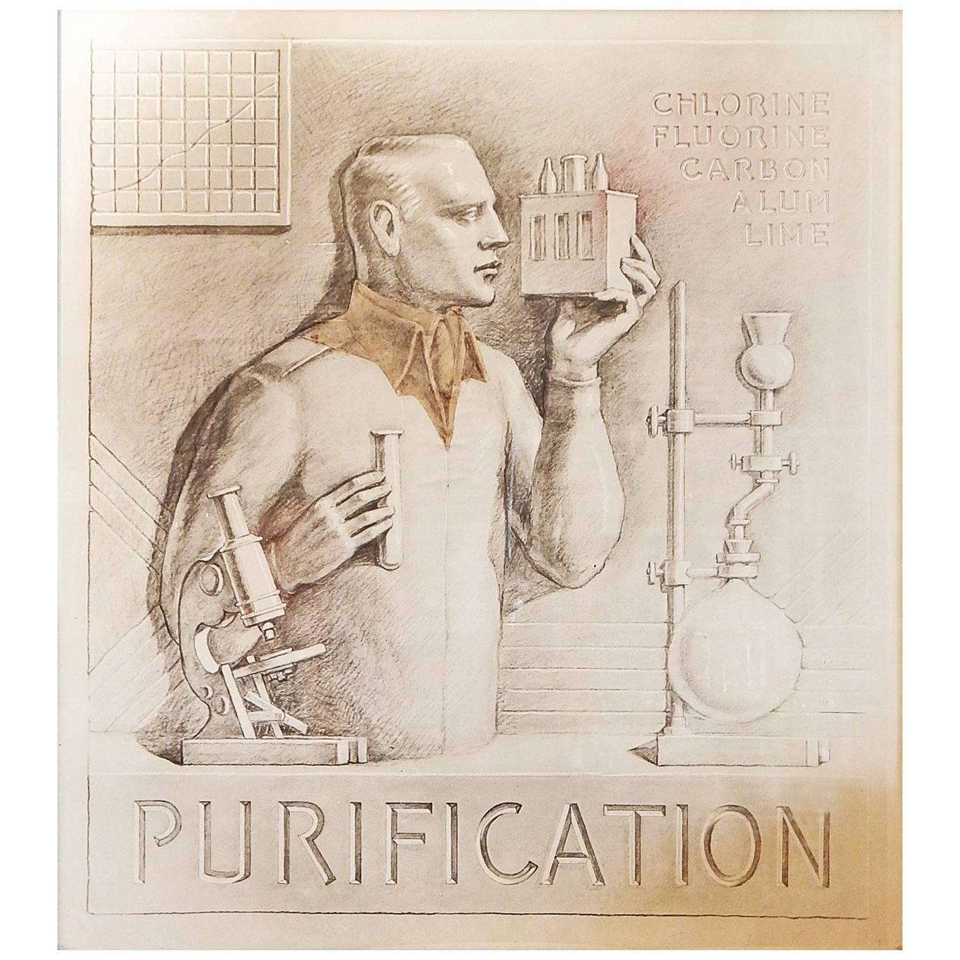 """""""Purification,"""" Art Deco Portrayal of Chemist for Water Treatment Plant"""