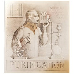 """Purification,"" Art Deco Portrayal of Chemist for Water Treatment Plant"