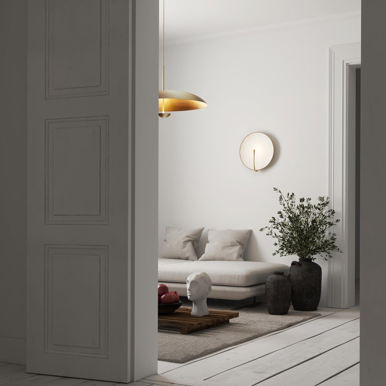 'PURION' Matt white lacquered Brass Contemporary Wall Light, Scone For Sale 3