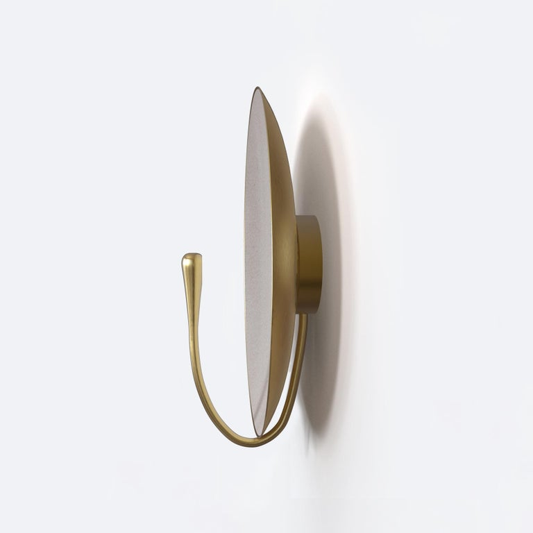 Organic Modern 'PURION' Matt white lacquered Brass Contemporary Wall Light, Scone For Sale