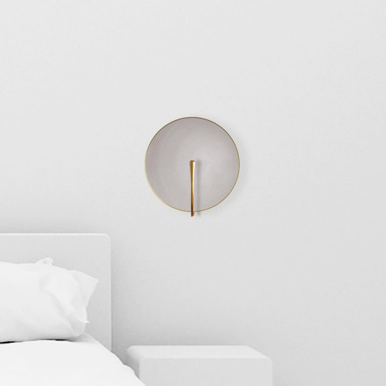 'PURION' Matt white lacquered Brass Contemporary Wall Light, Scone In New Condition For Sale In London, GB