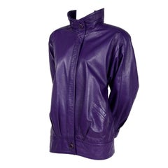 Melek Oversized Purple Leather Coat Jacket with Zip Front and Pockets, 1980s