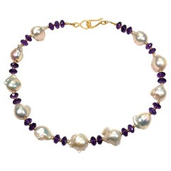 Purple Amethyst and White Baroque Pearl Choker Necklace