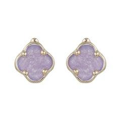 Purple Amethyst Clover Shape Fashion Stud Earrings 14k Yellow Gold