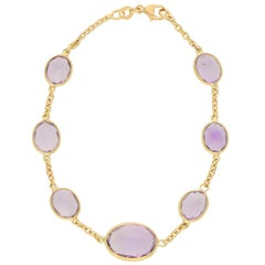 Purple Amethyst Spectacle Chain Bracelet Set in 18 Karat Yellow Gold